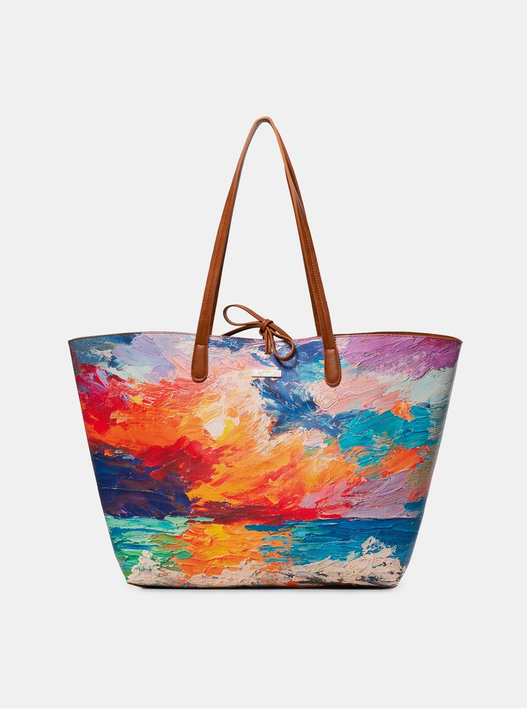 Hnědo-oranžový vzorovaný oboustranný shopper s pouzdrem 2v1Desigual Landscape Nimbus Capri