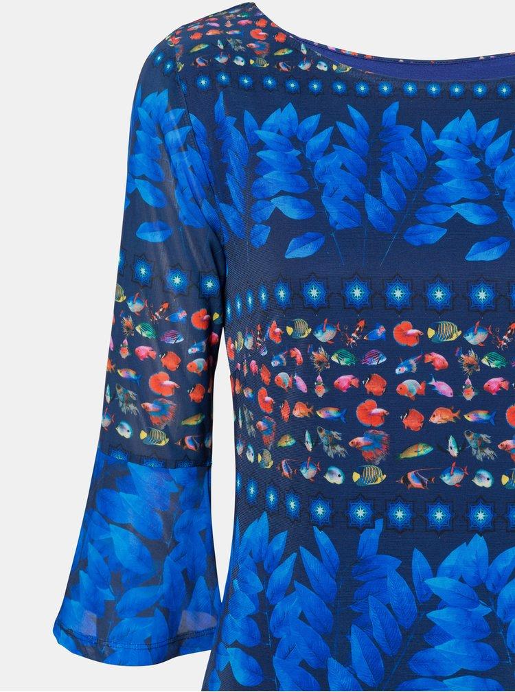 Modré vzorované šaty Desigual Calesi