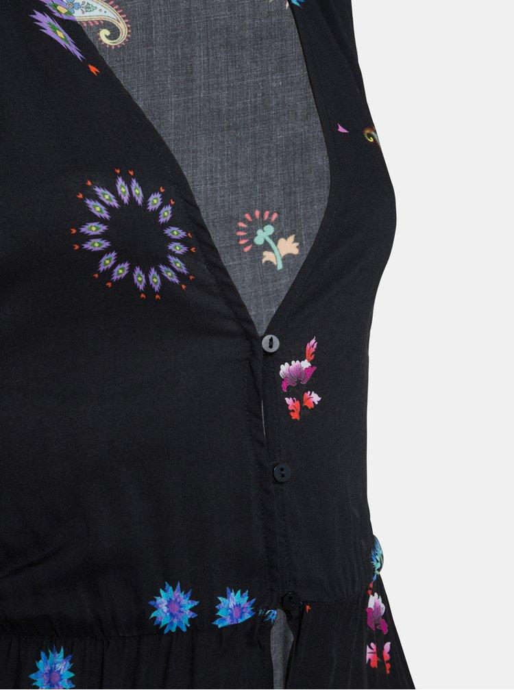 Čierne kvetované maxišaty Desigual Magda
