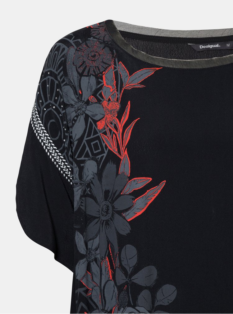 Černá květovaná  halenka Desigual Donna