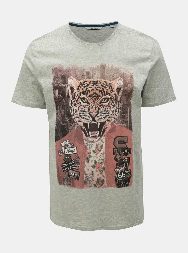 Šedé tričko s potiskem ONLY & SONS Loris