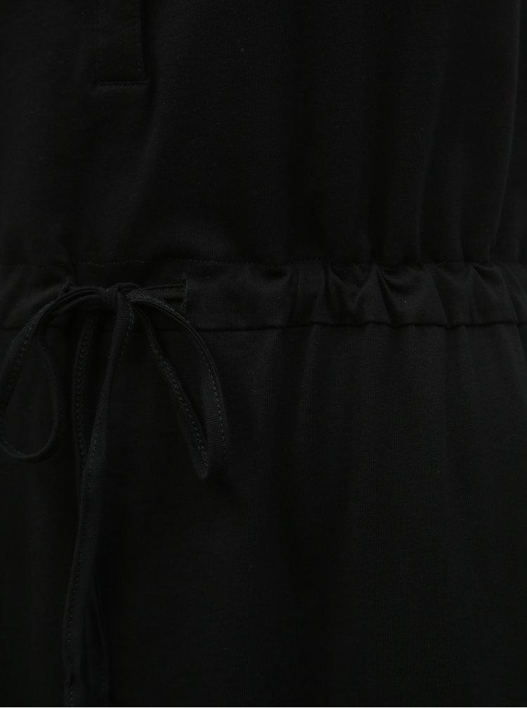 Černé maxišaty s knoflíky a rozparky VERO MODA Daina