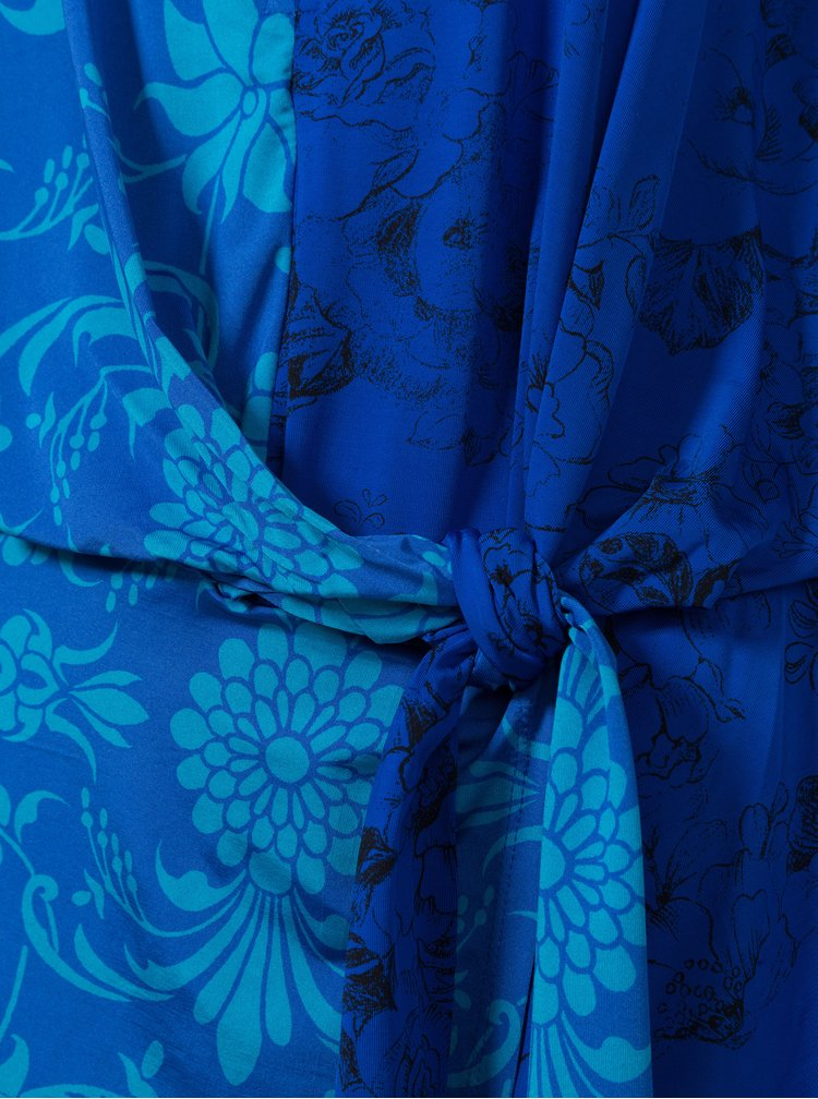 Modrá vzorovaná halenka s průstřihy Desigual Liana