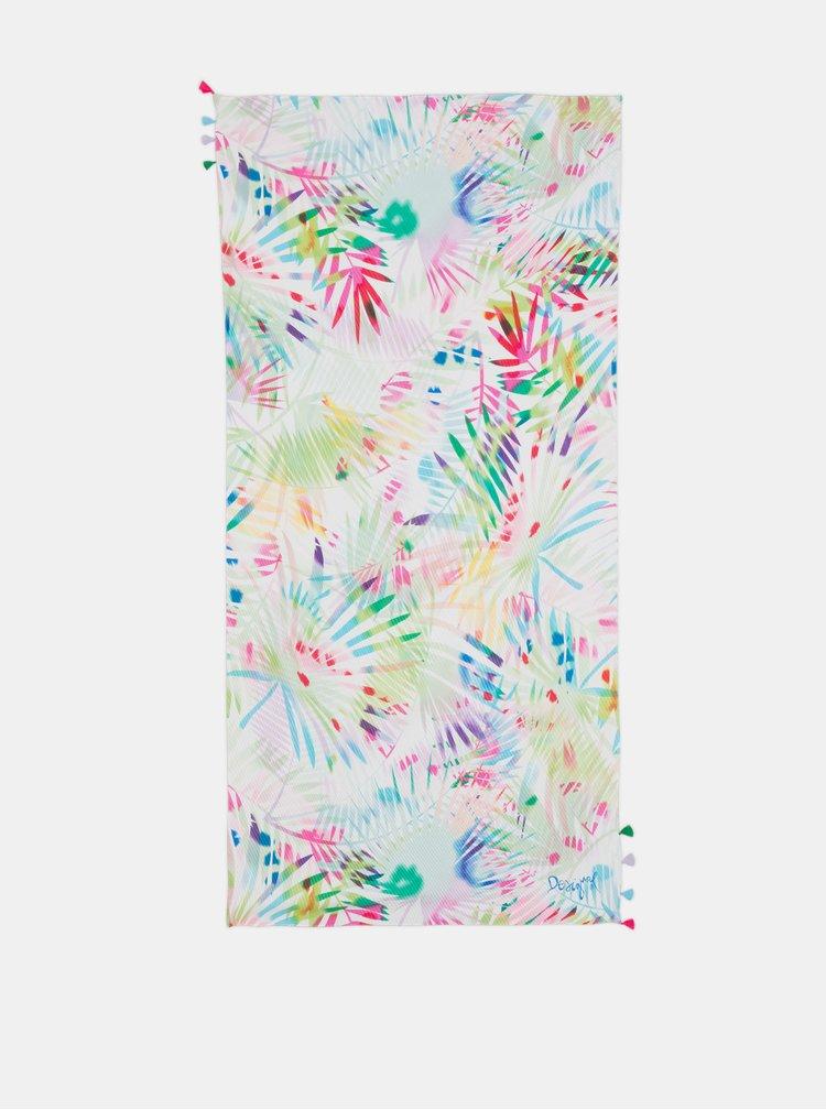 Esarfa roz-alb Desigual Palm