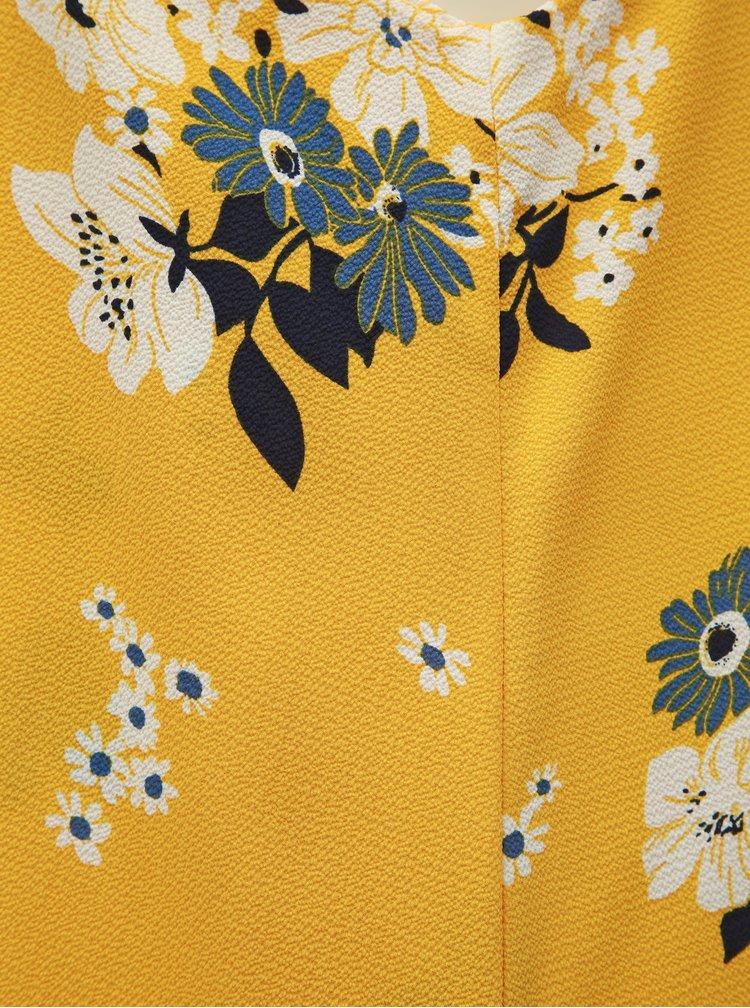Žlté kvetované šaty s prestrihmi ONLY Mariana