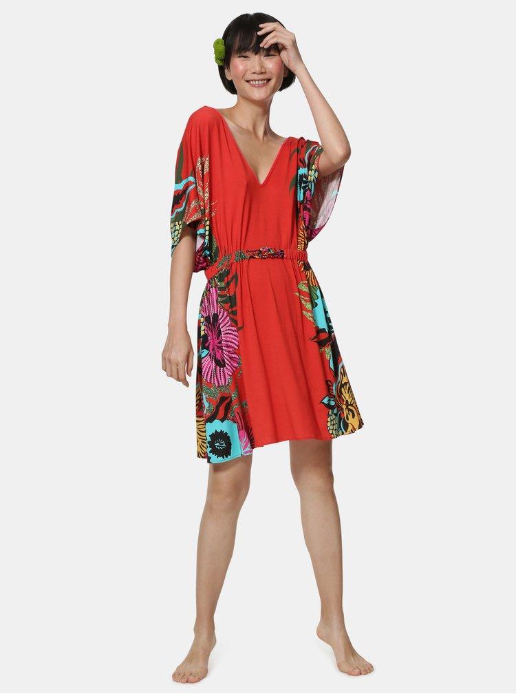Červené kvetované šaty Desigual Valeria