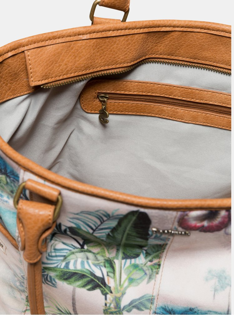 Krémová vzorovaná kabelka Desigual Tropi Maxton