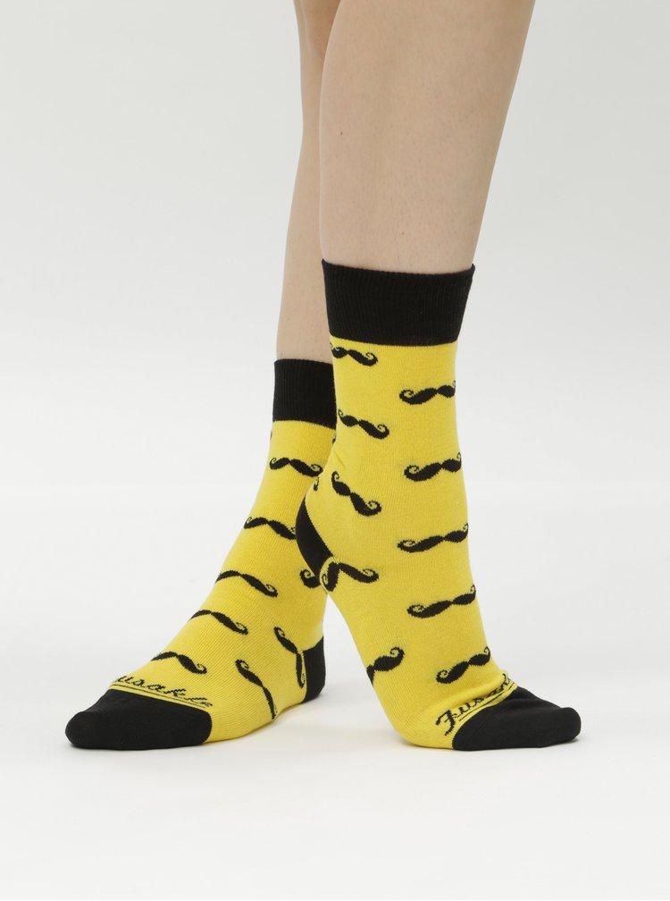 Žluté vzorované ponožky Fusakle Fúzač žltý