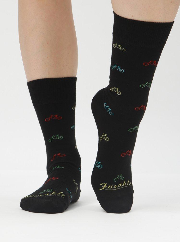 Černé vzorované ponožky Fusakle Cyklista čierny