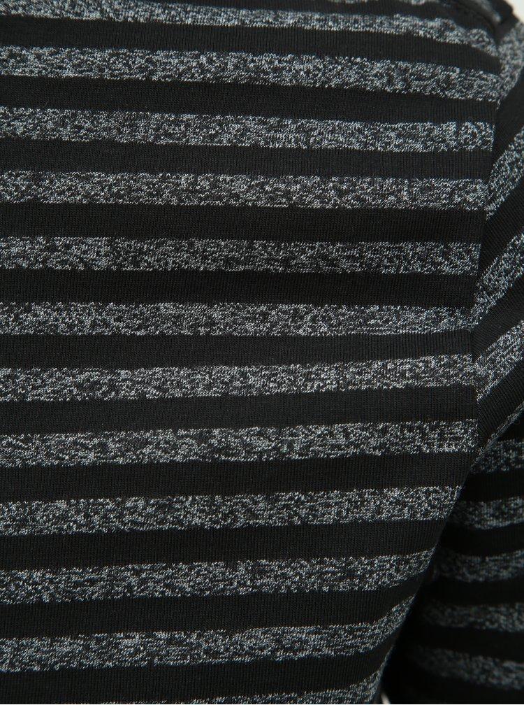 Tricou basic negru in dungi Lindbergh
