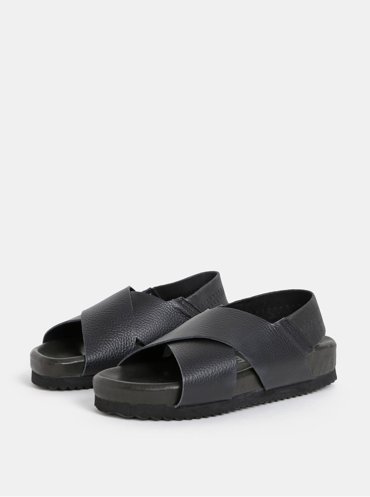 Čierne kožené sandále Selected Femme Elf