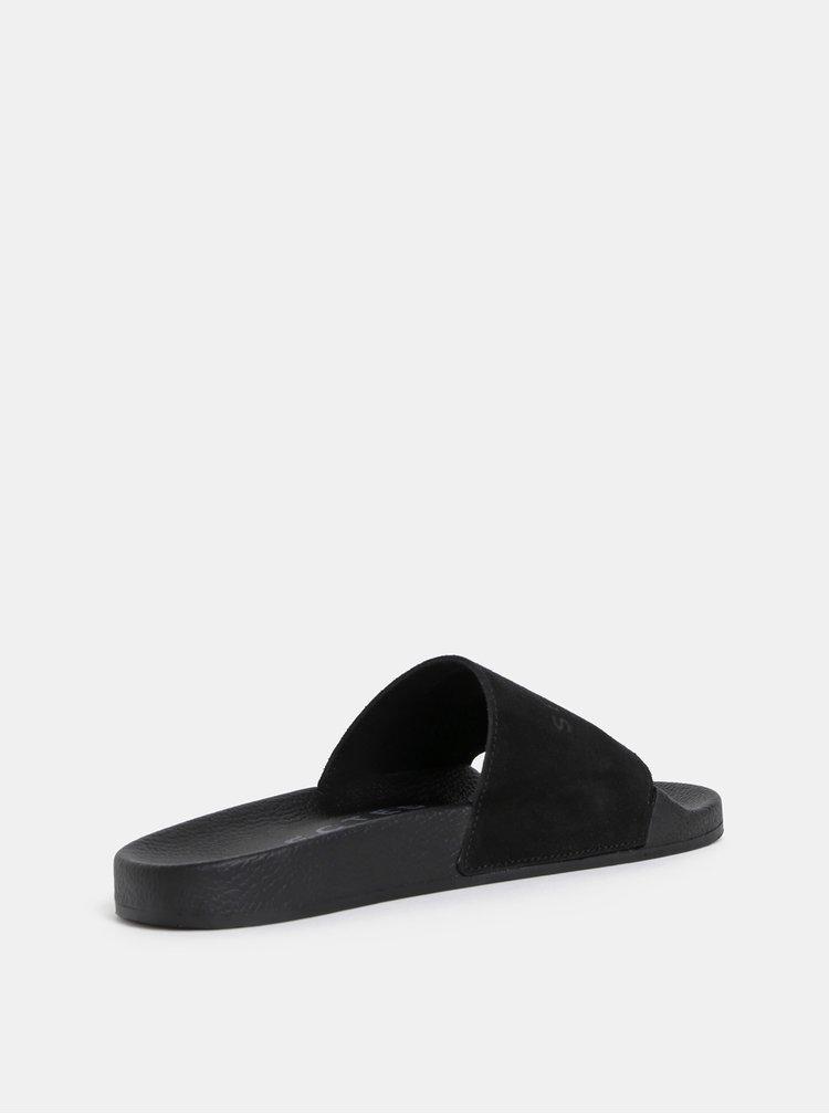Černé semišové pantofle Selected Femme Steph