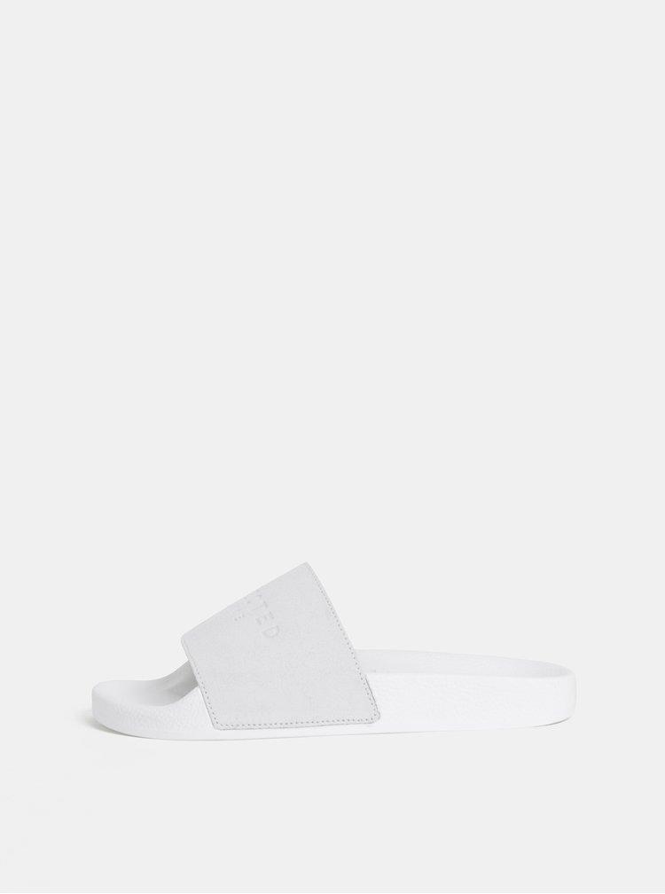 Bílé semišové pantofle Selected Femme Steph