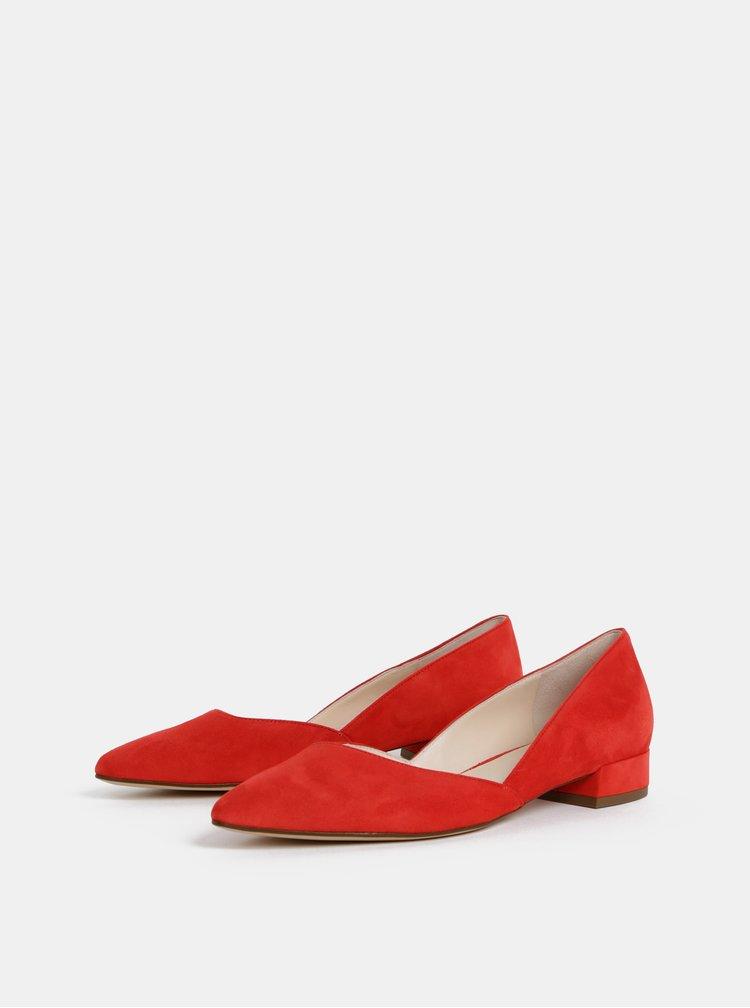 Červené semišové baleríny na nízkém podpatku Högl