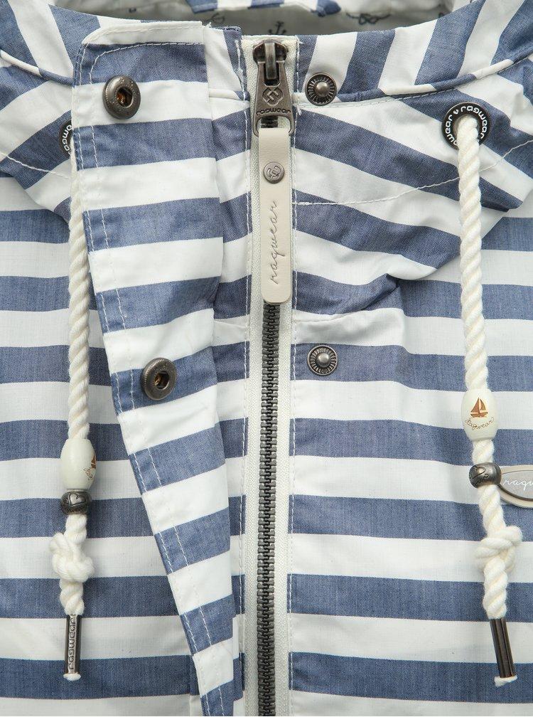 Jacheta parka alb-albastru in dungi lejera de dama Ragwear Barunka Stripes