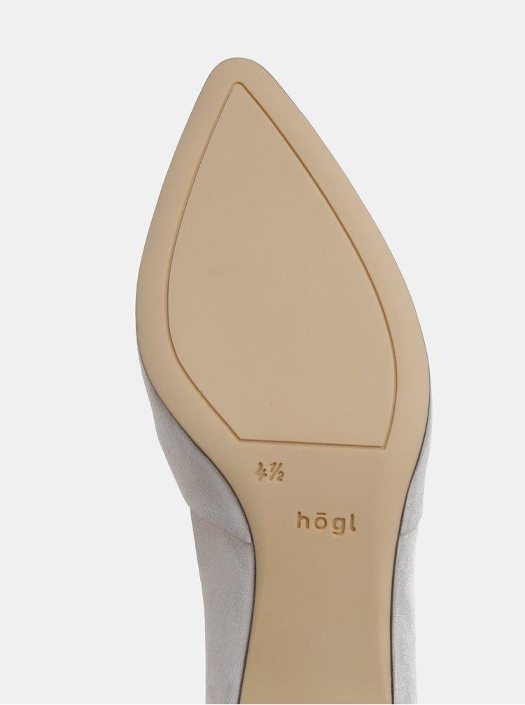 Pantofi gri deschis din piele intoarsa cu toc stabil Högl