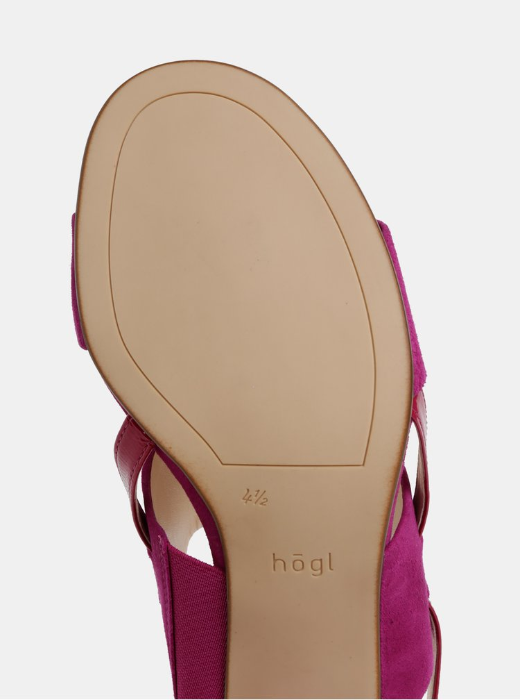 Fialové semišové sandálky na širokom podpätku Högl
