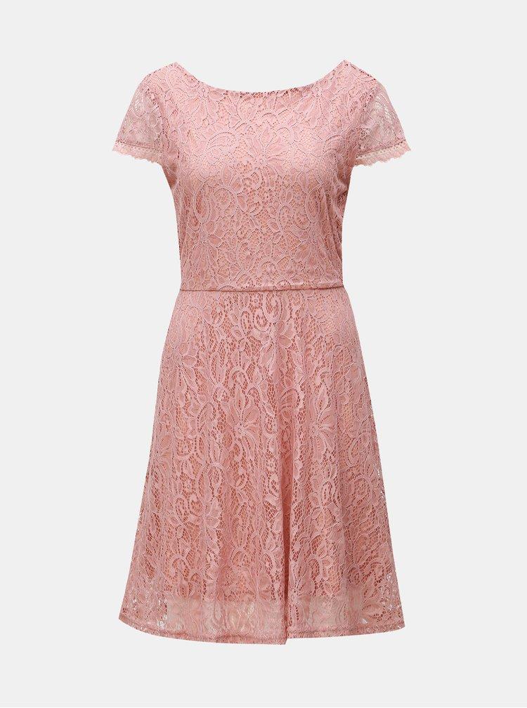 Rochie roz prafuit din dantela VERO MODA Sassa