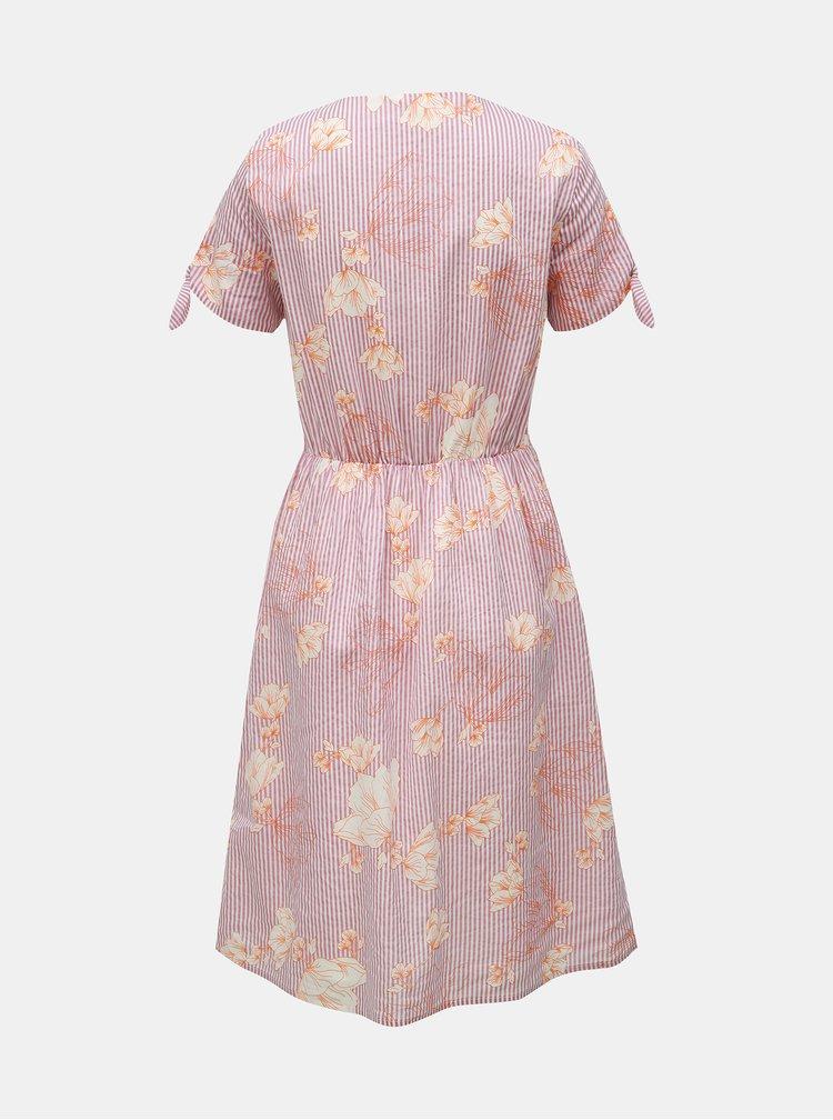Starorůžové vzorované šaty s překládaným výstřihem VERO MODA Sally