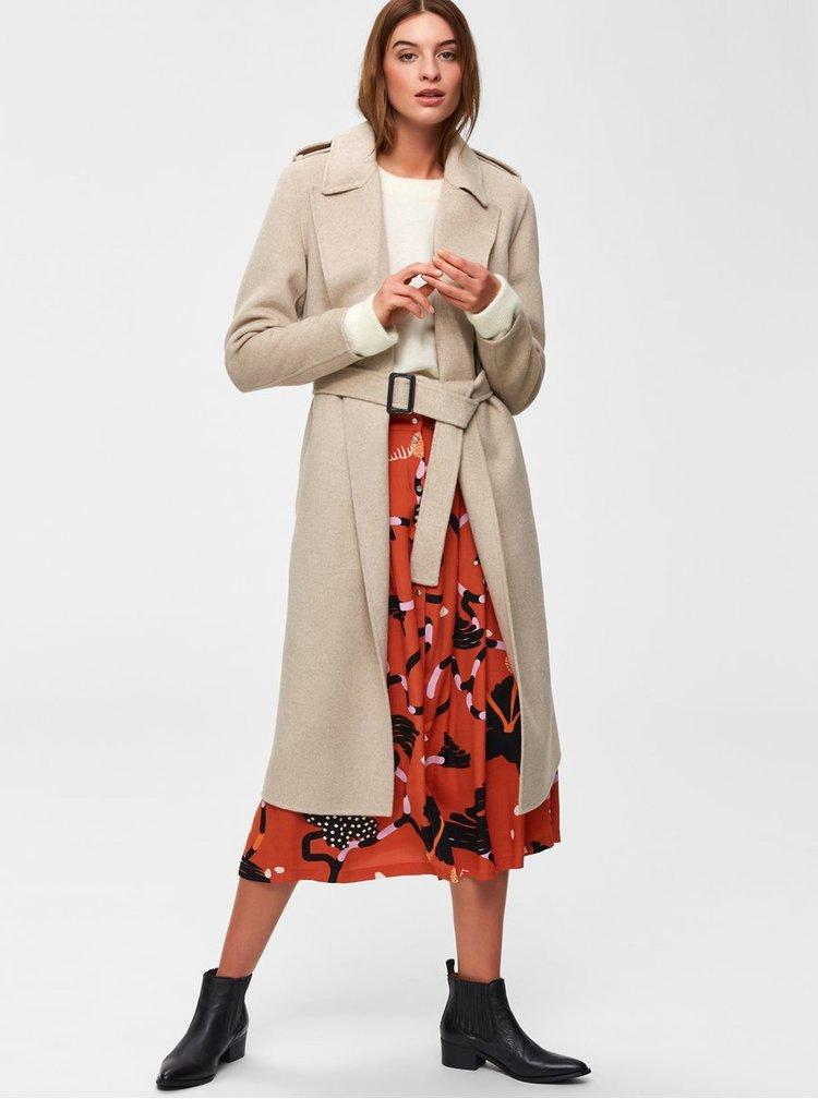 Pardesiu bej din lana Selected Femme Tana
