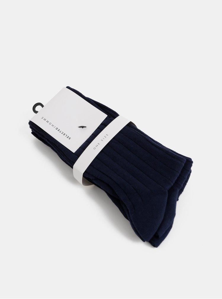 Sada tří párů tmavě modrých ponožek Selected Homme Pete