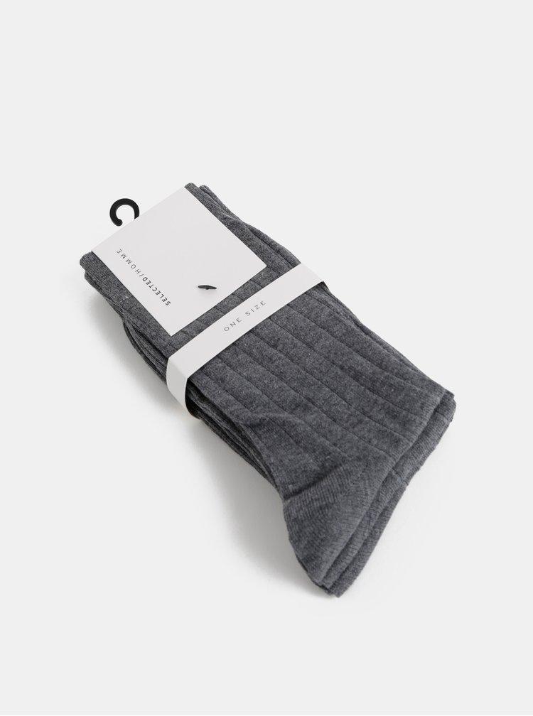 Balenie troch párov sivých ponožiek Selected Homme Pete