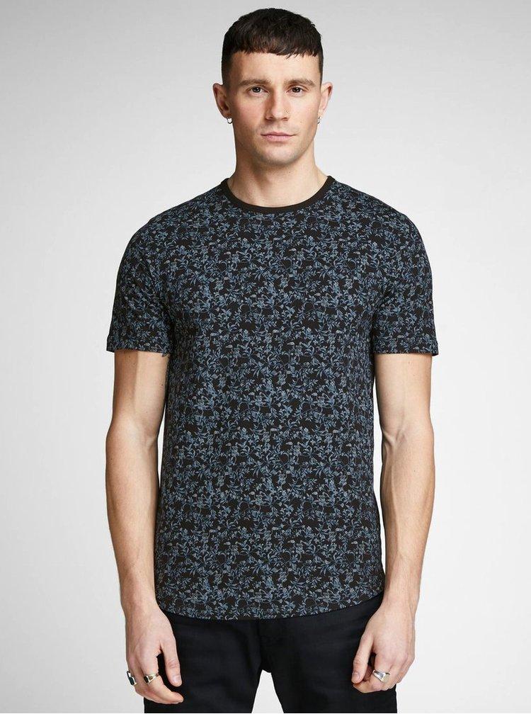 Modro-černé květované slim fit tričko Jack & Jones Canton