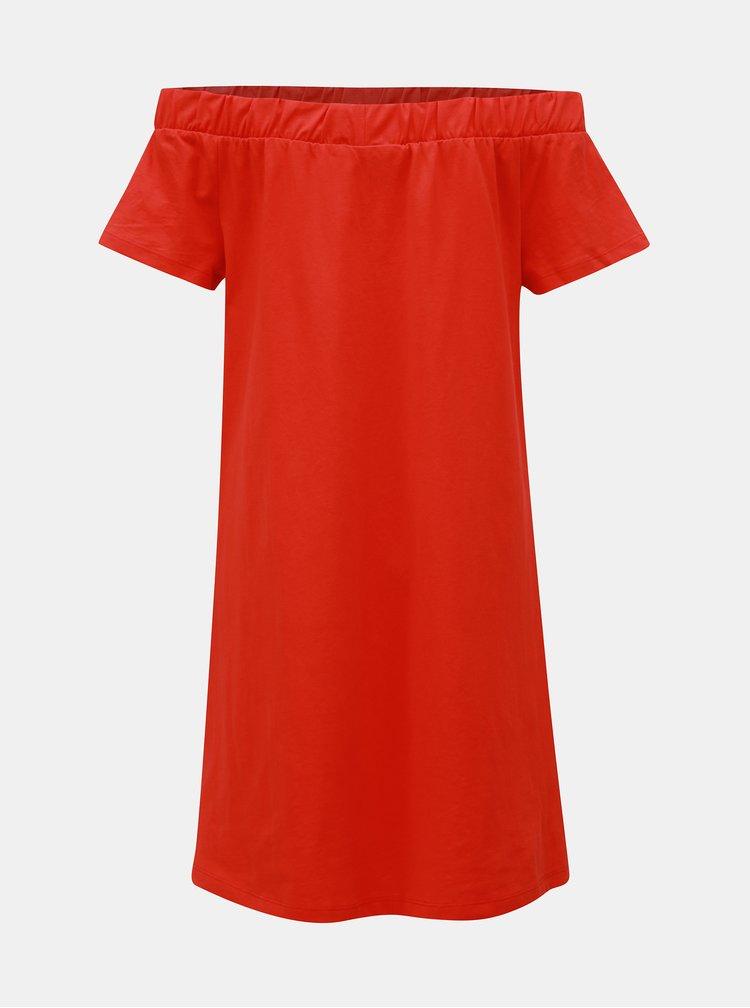 Červené šaty s odhalenými rameny VERO MODA Alzia