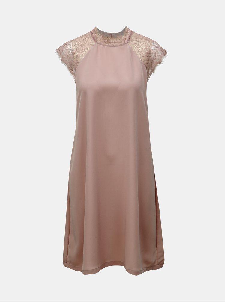 Staroružové šaty s čipkou ONLY Lunu