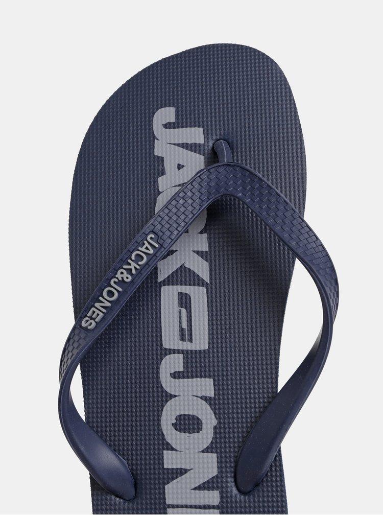 Tmavě modré pánské žabky Jack & Jones Logo