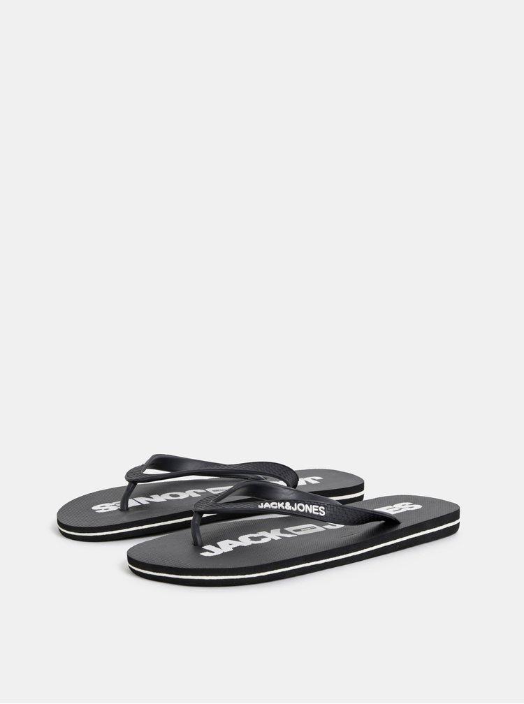 Papuci flip-flop barbatesti negri Jack & Jones Logo