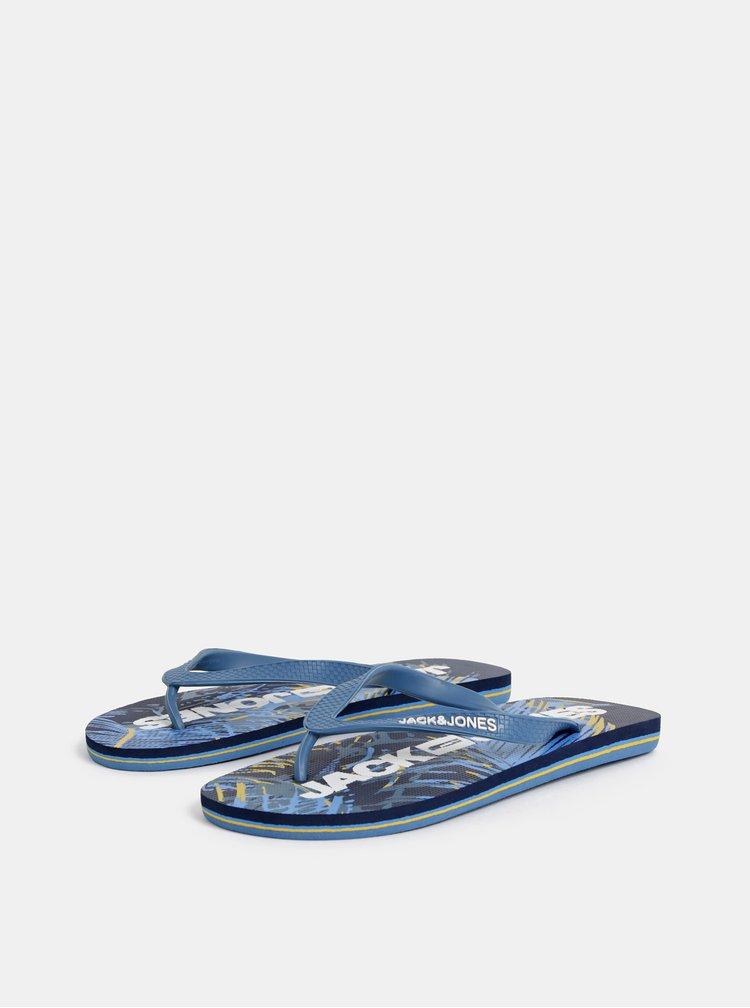 Modré pánske vzorované žabky Jack & Jones Tropical