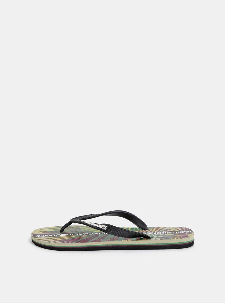 Papuci flip-flop barbatesti verde-negru cu model Jack & Jones Tropical