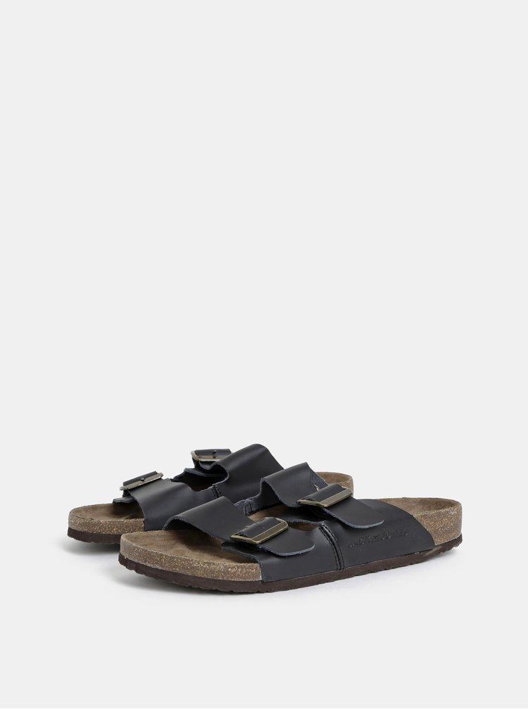 Černé pánské kožené pantofle Jack & Jones Croxton