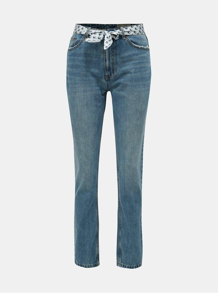 Modré relaxed fit džíny páskem VERO MODA Joana