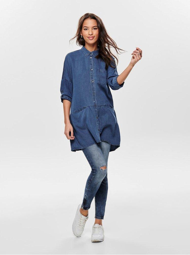 Modrá dlouhá džínová košile s kapsami ONLY Klinn