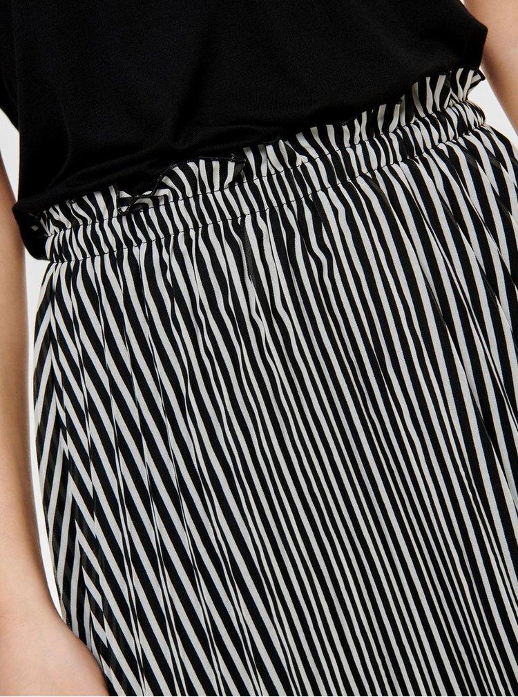 Fusta midi plisata alb-negru in dungi ONLY Paige