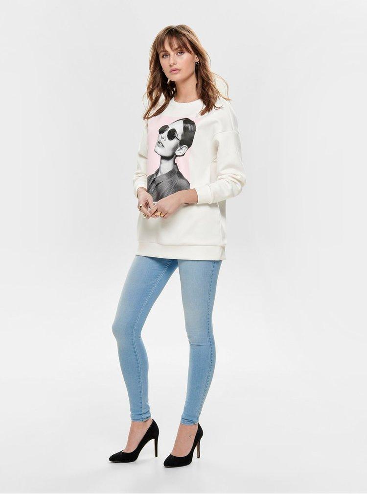 Bluza sport alba cu imprimeu ONLY Star