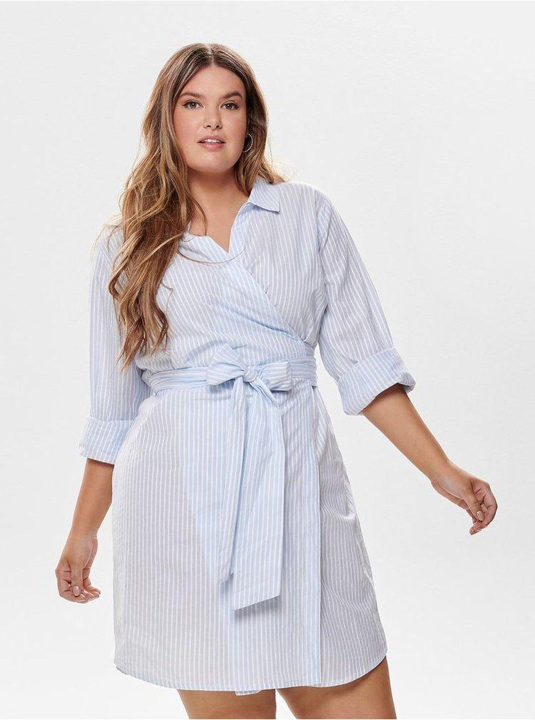 Bílo-modré pruhované košilové zavinovací šaty ONLY CARMACOMA Rosel