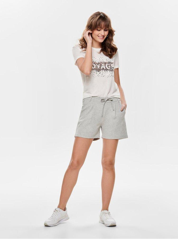 Krémové tričko s flitry a příměsí lnu ONLY Lina