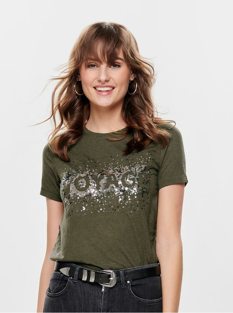 Kaki tričko s flitrami a prímesou ľanu ONLY Lina