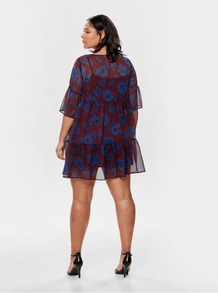 Modro-vínové květované šaty ONLY CARMACOMA Sympha