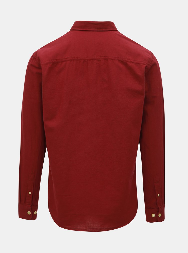 Vínová bodkovaná slim fit košeľa Jack & Jones Portland