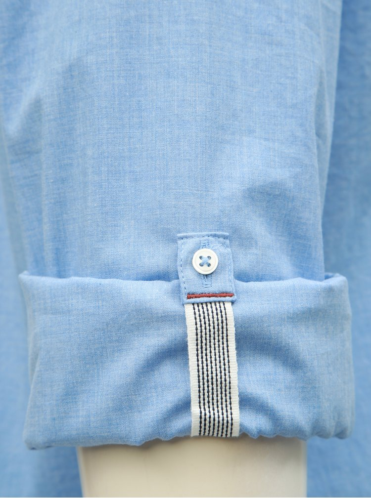 Modrá melírovaná slim fit košeľa Jack & Jones Caleb