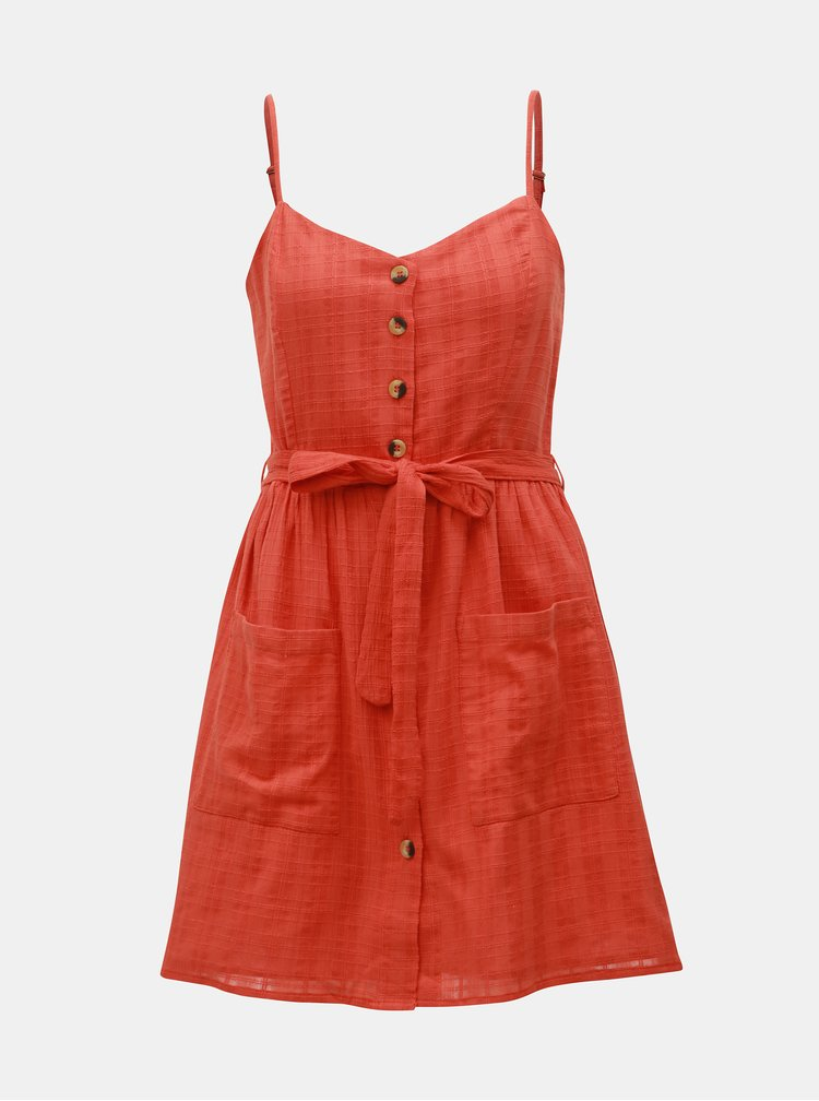 Oranžové šaty s kapsami Miss Selfridge