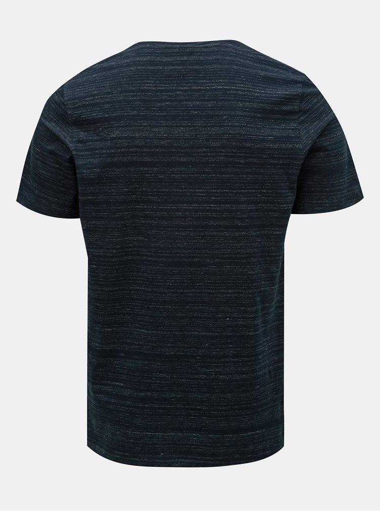 Tmavomodré melírované tričko s potlačou Jack & Jones Birk