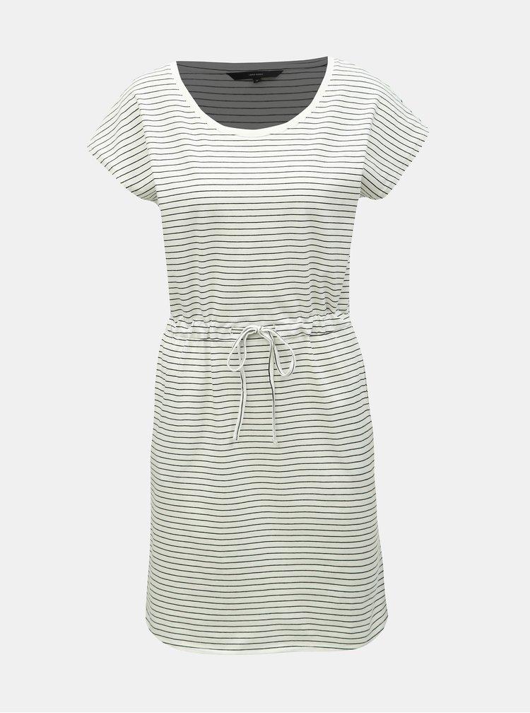 Krémové pruhované basic šaty s kapsami VERO MODA April