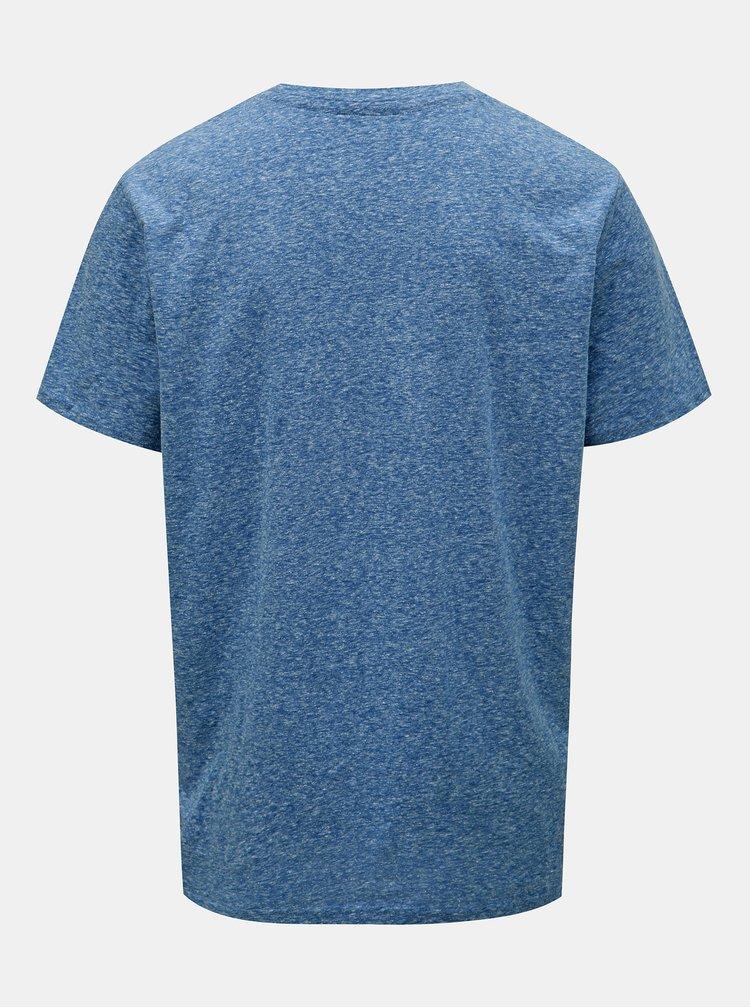 Modré žíhané tričko s potiskem Jack & Jones Hazy