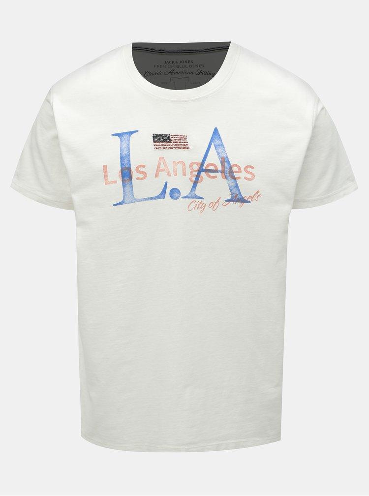 Bílé tričko s potiskem Jack & Jones Luke