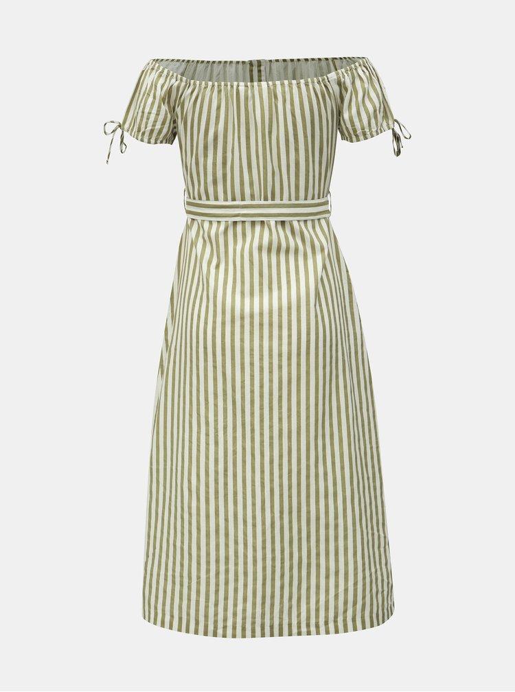 Khaki pruhované midišaty s odhalenými rameny a příměsí lnu Miss Selfridge